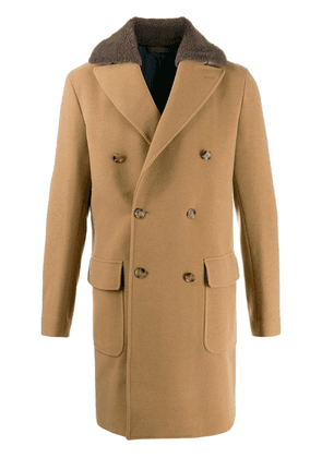 Eleventy textured double-breasted coat - Neutrals
