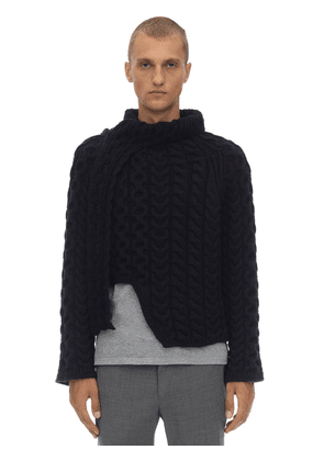 Wool Cable Knit Sweater W/scarf