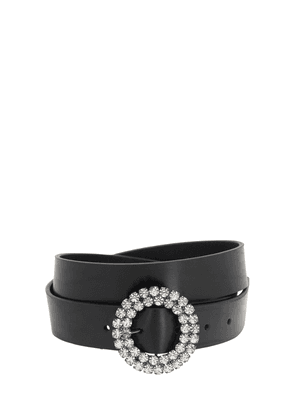 25mm Lana Smooth Leather Belt W/crystals
