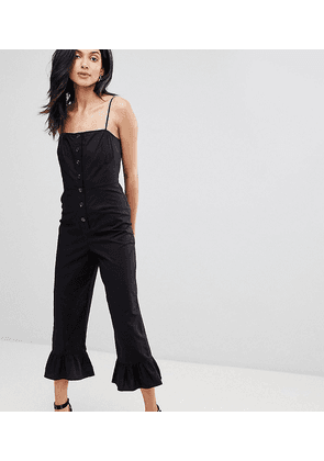 ASOS DESIGN Tall cotton frill hem jumpsuit with square neck and button detail