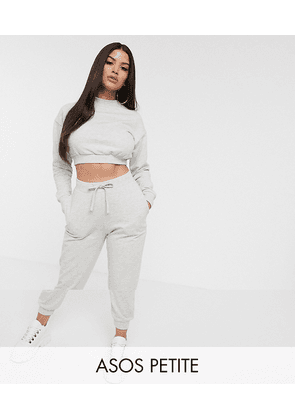 ASOS DESIGN Petite tracksuit cropped sweat / slim jogger with tie