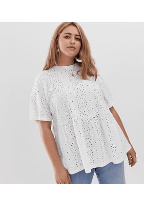 ASOS DESIGN Curve smock top in broidery