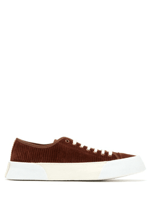 Ami - Cotton Corduroy Flatform Trainers - Mens - Brown