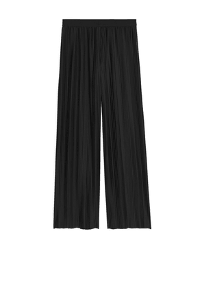 Pleated Jersey Trousers - Black