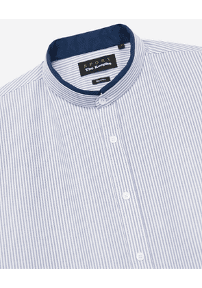 The Kooples - blue and white striped oxford shirt with grosgrain - navy