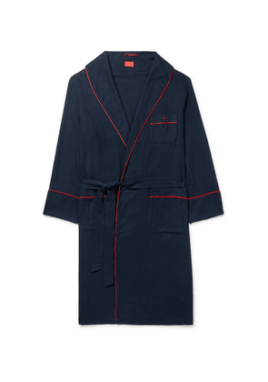 Isaia - Piped Cotton And Cashmere-blend Robe - Midnight blue