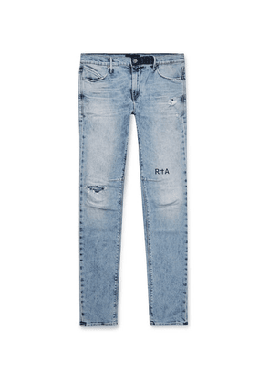 RtA - 1 Skinny-fit Printed Distressed Stretch-denim Jeans - Light denim