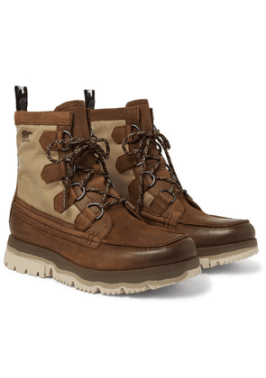 Sorel - Atlis Caribou Waterproof Leather And Canvas Boots - Brown