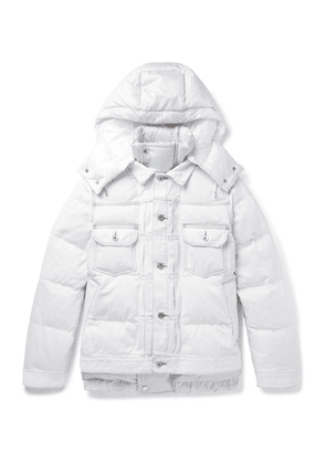 Sacai - Quilted Denim And Shell Hooded Down Jacket - White