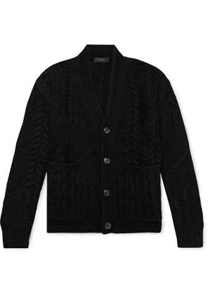 AMIRI - Oversized Distressed Cable-knit Wool And Cashmere-blend Cardigan - Black