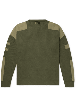 AMIRI - Tencel-trimmed Ribbed Wool And Cashmere-blend Sweater - Green