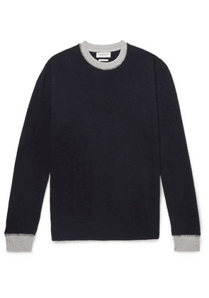 President's - Contrast-tipped Wool Sweater - Navy