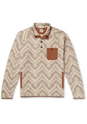 Faherty - Monument Valley Shell-trimmed Printed Cotton-blend Fleece Sweatshirt - Neutral