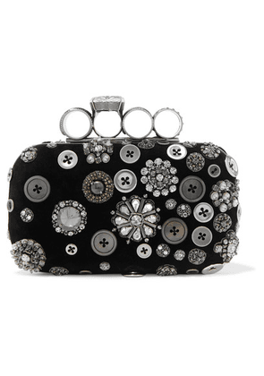 Alexander McQueen - Four-ring Embellished Suede Clutch - Black