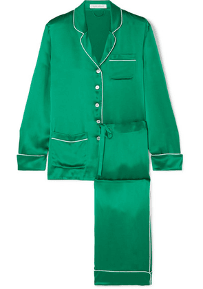 Olivia von Halle - Coco Silk-satin Pajama Set - Forest green