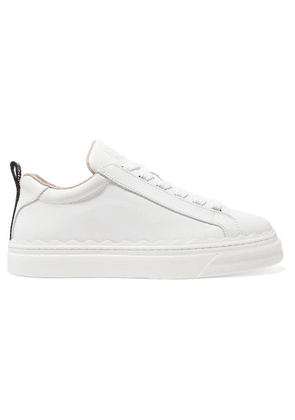 Chloé - Lauren Scalloped Leather Sneakers - White
