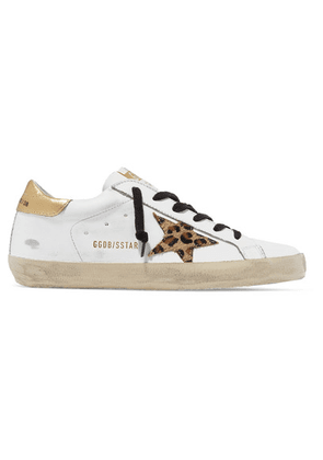 Golden Goose - Superstar Distressed Leather And Leopard-print Calf Hair Sneakers - White
