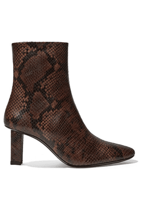 STAUD - Brando Snake-effect Leather Ankle Boots - Snake print