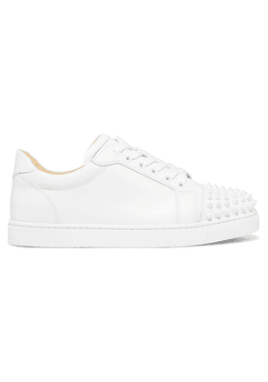 Christian Louboutin - Viera Spikes Embellished Leather Sneakers - White