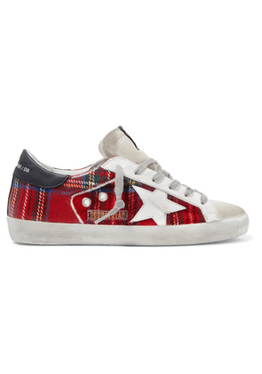 Golden Goose - Superstar Tartan Flannel And Distressed Leather Sneakers - Red