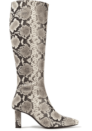 STAUD - Benny Snake-effect Leather Knee Boots - Snake print
