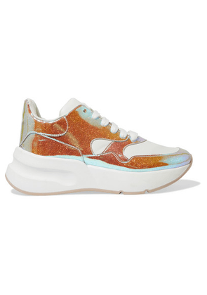 Alexander McQueen - Smooth And Iridescent Leather Exaggerated-sole Sneakers - Silver