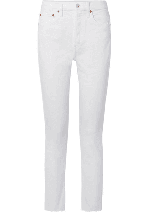 RE/DONE - Originals High-rise Ankle Crop Frayed Skinny Jeans - White
