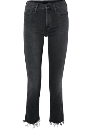 Mother - The Rascal Ankle Snippet Distressed Mid-rise Skinny Jeans - Black