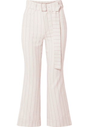 Orseund Iris - Cropped Belted Pinstriped Wool-blend Flared Pants - Cream