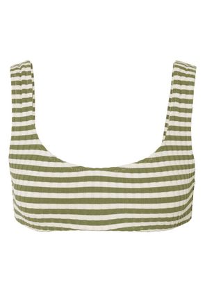 Solid & Striped - The Elle Striped Ribbed Stretch Bikini Top - Green