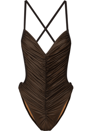 Norma Kamali - Butterfly Mio Ruched Stretch-tulle Swimsuit - Black
