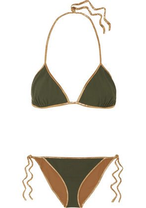Tooshie - Hampton Reversible Lurex-trimmed Triangle Bikini - Green