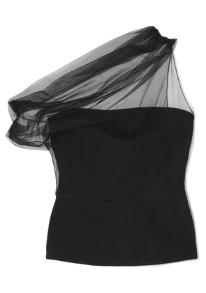 Cushnie - One-shoulder Draped Tulle And Stretch-crepe Top - Black