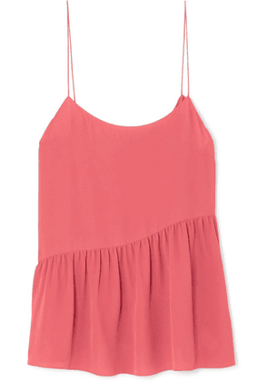 Theory - Pleated Silk-crepe Camisole - Red