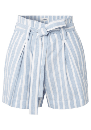 L'Agence - Alex Belted Striped Linen And Cotton-blend Shorts - Blue