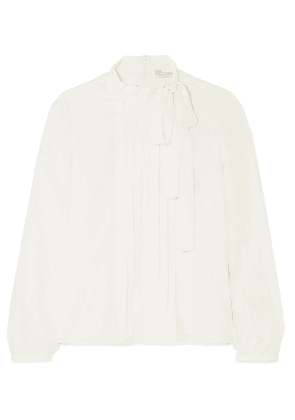 REDValentino - Pussy-bow Pintucked Silk Crepe De Chine Blouse - White