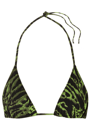 GANNI - Tiger-print Triangle Bikini Top - Green