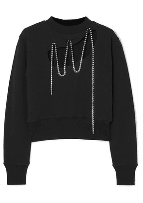 Christopher Kane - Squiggle Cropped Crystal-embellished Cotton-jersey Sweatshirt - Black