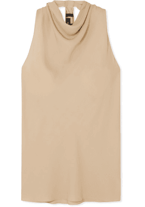 Theory - Twist-back Silk-crepe Top - Beige