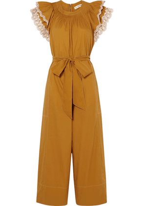 Ulla Johnson - Landon Ruffled Broderie Anglaise-trimmed Cotton-poplin Jumpsuit - Saffron