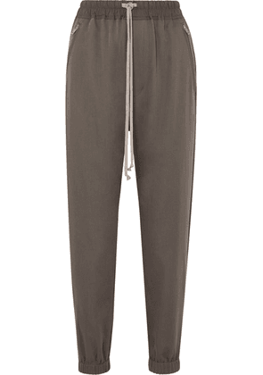 Rick Owens - Cotton-trimmed Wool Track Pants - Light gray