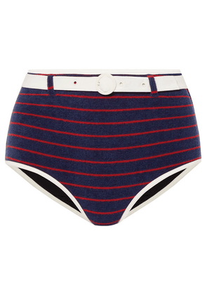 Solid & Striped - + Re/done The Nantucket Belted Striped Cotton-blend Terry Bikini Briefs - Navy