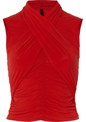 Unravel Project - Cropped Ruched Wrap-effect Stretch-jersey Top - Red