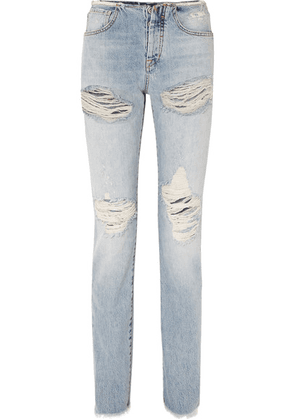 Unravel Project - Vinta Spray Distressed Low-rise Skinny Jeans - Blue