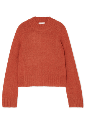 Vince - Cropped Mélange Cashmere Sweater - Red