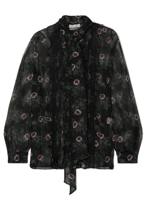 Valentino - Pussy-bow Lace-trimmed Floral-print Silk-chiffon Blouse - Black