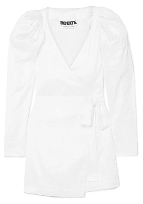 ROTATE Birger Christensen - Stretch-satin Wrap Mini Dress - White