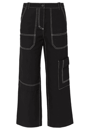 3.1 Phillip Lim - Cropped Straight-leg Cotton And Wool-blend Drill Pants - Black