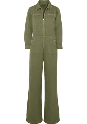 ALEXACHUNG - Cropped Cotton And Linen-blend Drill Jumpsuit - Army green