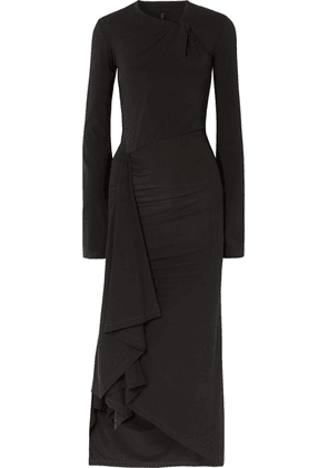 Unravel Project - Twisted Draped Stretch-jersey Midi Dress - Black